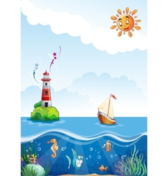 Childrens of sea with lighthouse sailing and fun vector image