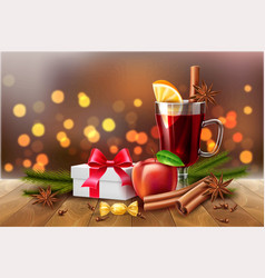 christmas poster mulled wine present box vector image