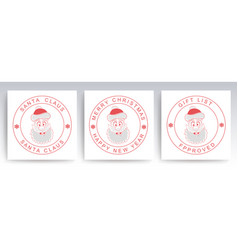 christmas round stamp with outline a merry vector image