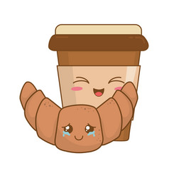 coffee drink with croissant kawaii characters vector image
