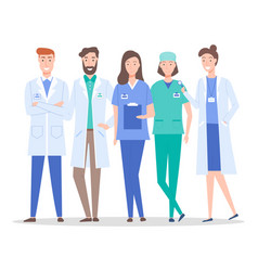collective doctors and nurses characters set vector image