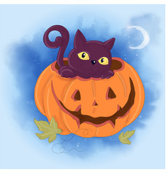 Cute cartoon with a cat and a pumpkin vector