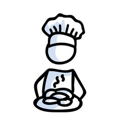 Cute stick figure chef baker with cookie plate vector
