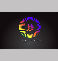 d letter logo design with colorful rainbow vector image