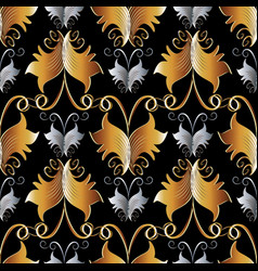 Damask floral seamless pattern black gold silver vector