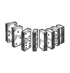 domino bones line chain sketch engraving vector image