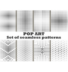 Dotted pop art seamless pattern set halftone vector