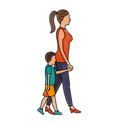 drawing mom walking her son holding hands vector image