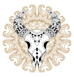 entangle stylized animal skull on gypsy mandala vector image
