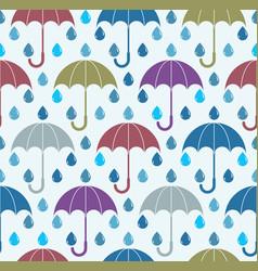 falling rain drops and umbrellas water seamless vector image