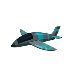 Flat icon of gray jet plane with blue vector