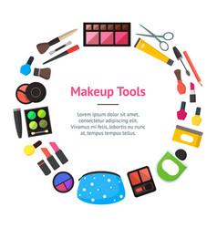 flat make up tools banner card circle vector image