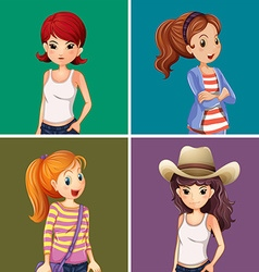 Four girls on color background vector
