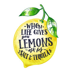 Fresh lemon with hand writing phrase fruits vector