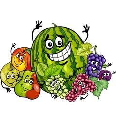 Fruits group cartoon vector