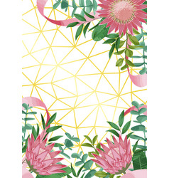 Geometric background with protea flowers vector