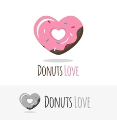 glossy heart donut logotype Sweets shop vector image