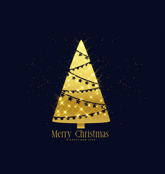 golden sparkles christmas tree decoration vector image
