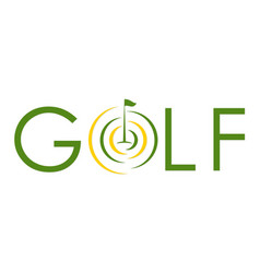 Golf text symbol flag logo vector