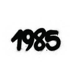 Graffiti 1985 date sprayed in black over white vector