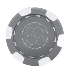gray casino poker chip with soccer ball isolated vector image