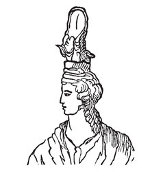 Grecian female head-dress vintage engraving vector