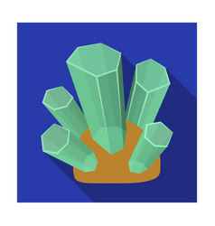 Green natural minerals icon in flat style isolated vector