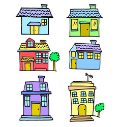 Hand draw of house set colorful vector