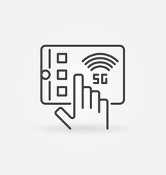 hand with 5g tablet outline icon vector image