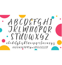 handwritten calligraphy font alphabet vector image