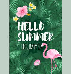 hello summer tropical frame design vector image