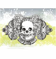 heraldic grunge skull vector image