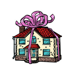house gift real estate isolate on white vector image