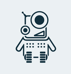 icon of a laughing robot in a linear style vector image