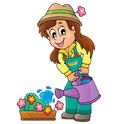 Image with gardener theme 1 vector
