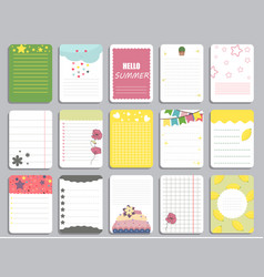 Kids notebook page template cards notes vector
