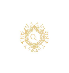 letter q initial logo for wedding boutique luxury vector image