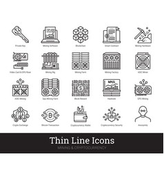 Mining cryptocurrency blockchain linear icons vector