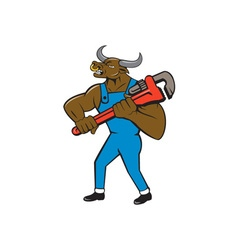 Minotaur Bull Plumber Wrench Isolated Cartoon vector