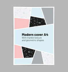 modern cover a4 with marble texture vector image