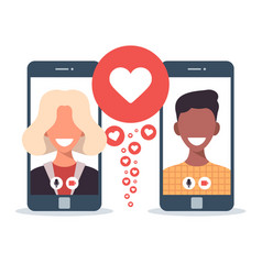 online dating app concept with man and woman vector image