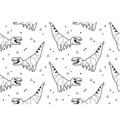 Origami pattern background with dinosaurs vector