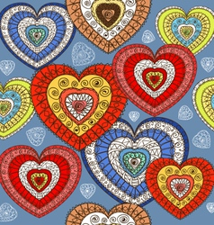 Ornamented color hearts seamless background vector image