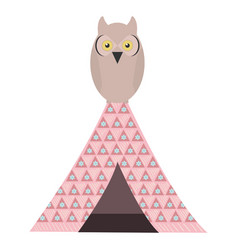 owl bird in indian tent bohemian style vector image