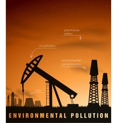 pollution concept of ecology and oil plants vector image