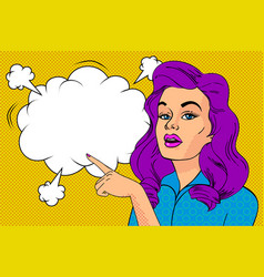 pop art sexy woman and empty speech bubble vector image
