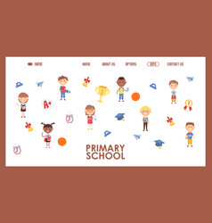primary school website design vector image