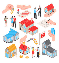 Real estate isometric set vector