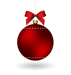Red christmass ball with ribbon hanging on a vector