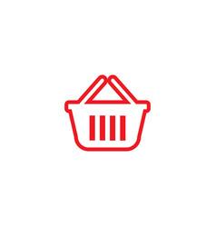 Red shopping bag outline retail logo design vector
